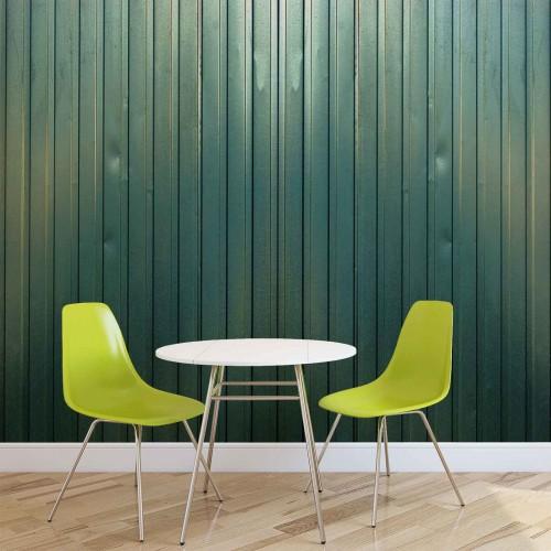 Scanduri verde din lemn - fototapet