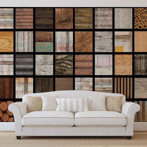Scanduri din lemn, cadrane - fototapet