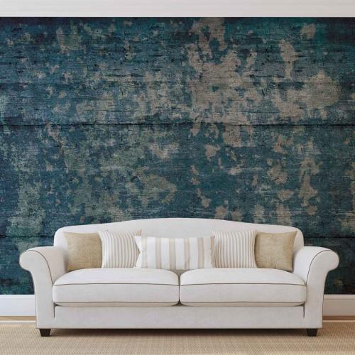 Textura abstracta albastru, cu aspect lemnos - fototapet
