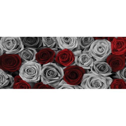 Trandafiri rosii si argintii in stil vintage - fototapet