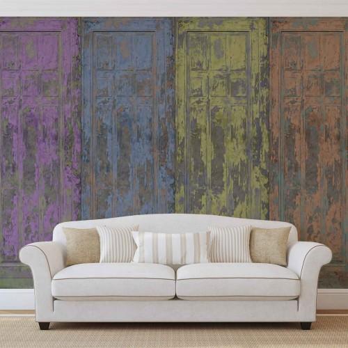 Usi de lemn, rustice, pictate - fototapet