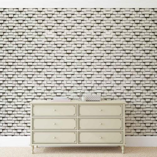 Zid de caramizi alb-negru - fototapet