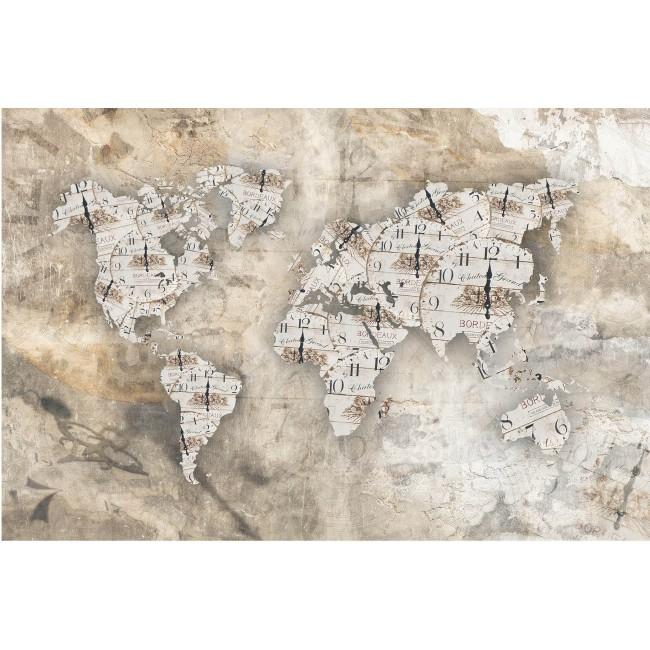 Ceasul si harta lumii - fototapet vlies