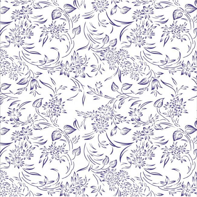 Decor floral albastru - fototapet vlies