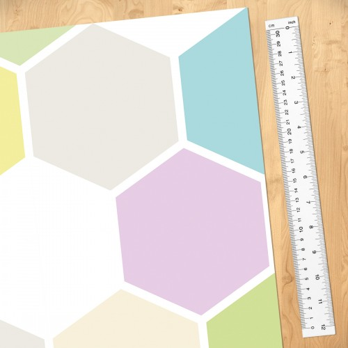 Hexagon pastel - fototapet vlies