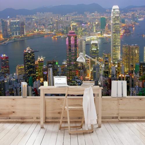 Linia cerului in Hong Kong - fototapet vlies