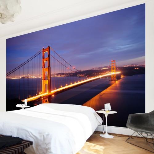 Podul Golden Gate pe timp de noapte - fototapet vlies