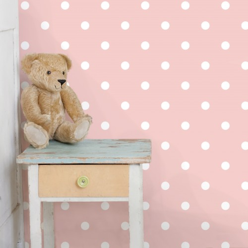 Puncte albe pe fundal roz - fototapet copii