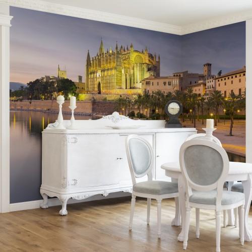 Reflexia Catedralei din Mallorca - fototapet vlies