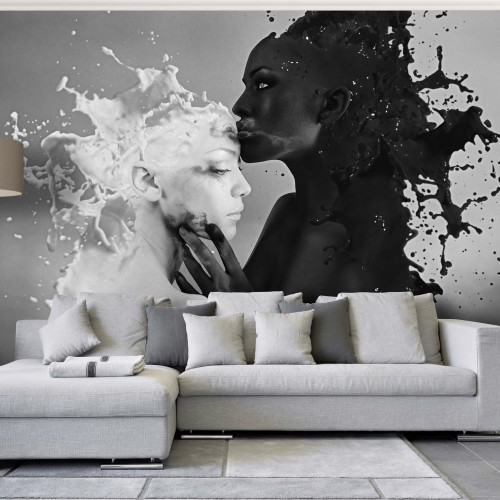 Fototapet sărutul laptelui si cafelei (alb-negru)