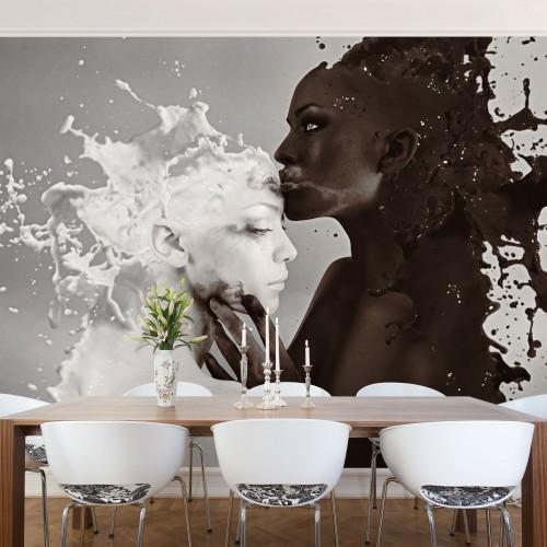 Fototapet sărutul laptelui si cafelei