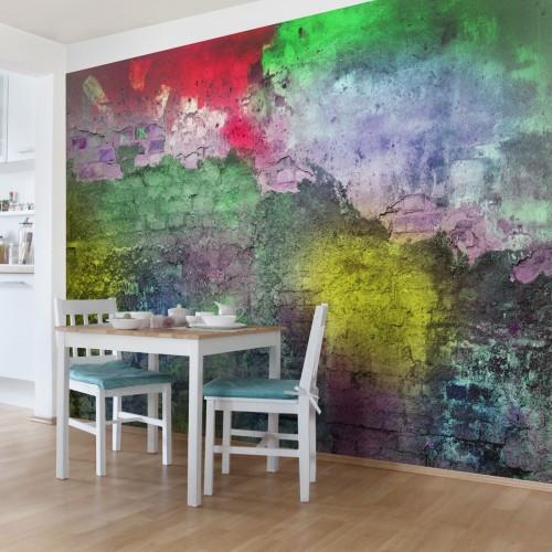 Zid de caramizi color - fototapet vlies