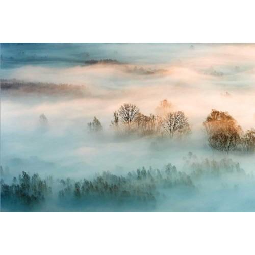 Răsărit de soare în ceață - fototapet vlies