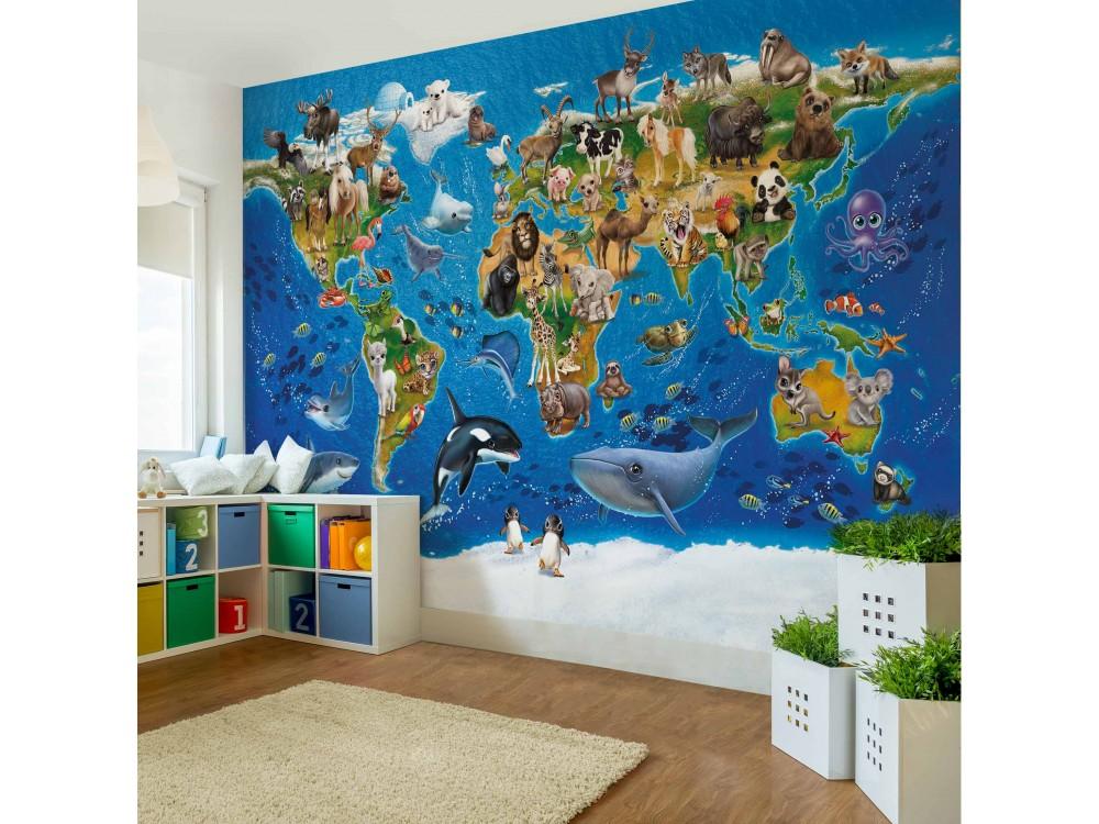 Harta Lumii Cu Animale Fototapet Copii