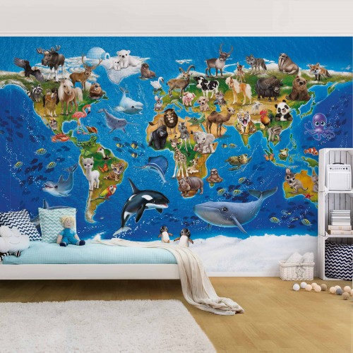 Harta lumii cu animale - fototapet copii