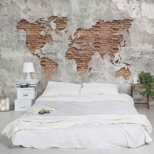 Harta lumii, perete din cărămidă Shabby - fototapet vlies