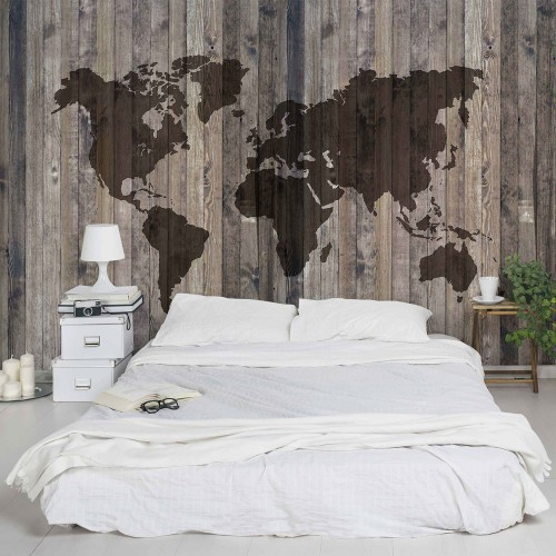 Harta lumii, perete din lemn - fototapet vlies