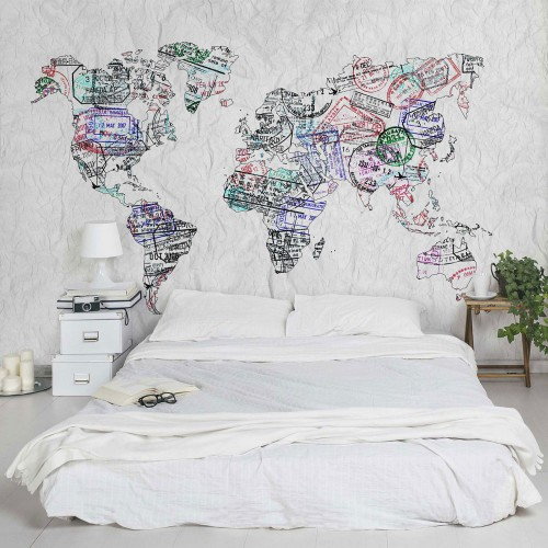 Harta lumii, ștampilă din pașaport - fototapet vlies