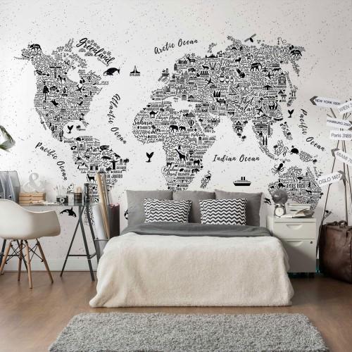 Harta lumii alb-negru, animale - fototapet vlies