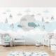 Nori cu balene și castel - fototapet copii