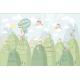 Pădure cu case și animale - fototapet vlies