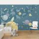 Planete, stele și rachete - fototapet vlies