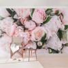 Bujor roz cu frunze - fototapet vlies