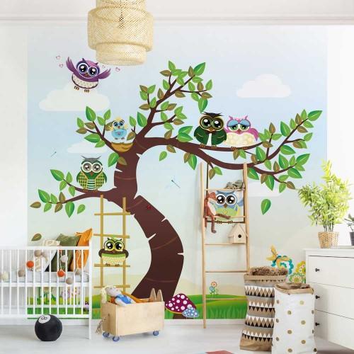 Fototapet copii - Copac cu bufnițe - 204098