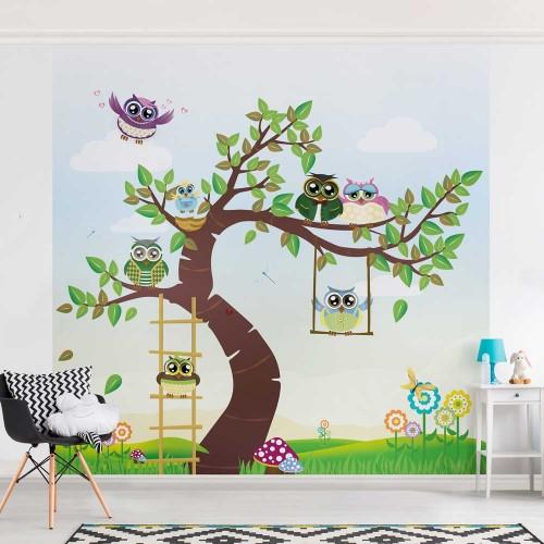 Copac cu bufnițe colorate - fototapet copii
