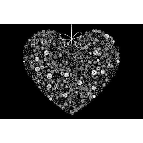 Inimă din floricele - fototapet vlies