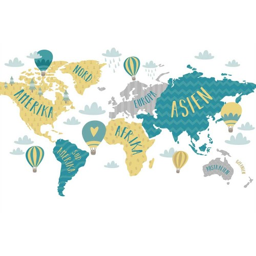 Harta lumii, baloane cu aer cald - fototapet vlies