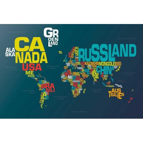 Harta lumii, litere colorate - fototapet vlies
