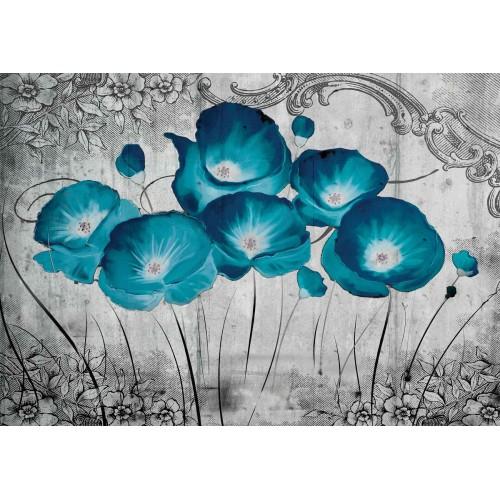Fototapet vlies floral Maci albastri 2815VE