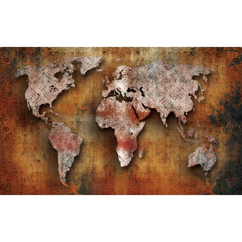 Fototapet vlies Harta lumii pe lemn 2892