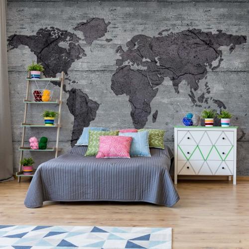 Fototapet Harta lumii, perete din beton 2854P4