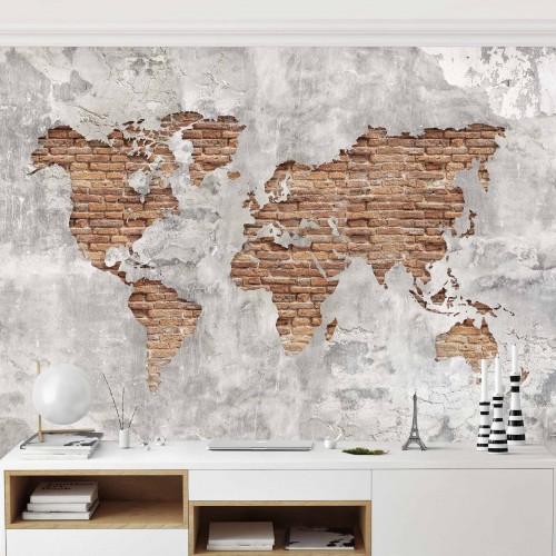 Fototapet vlies Harta lumii, perete din cărămidă 210862