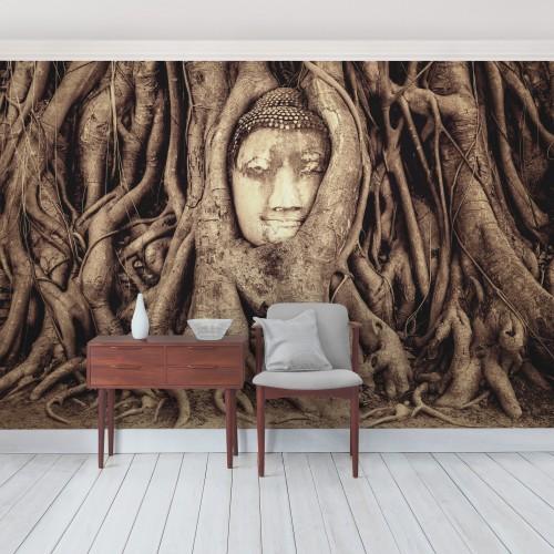 Buddha in radacini de copaci - fototapet vlies