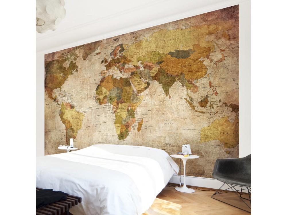 Harta Lumii Fototapet Cu Aspect Antichizat