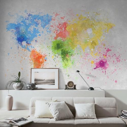 Harta lumii in culori - fototapet vlies