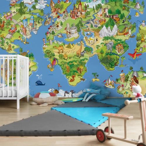 Harta lumii pentru copii - fototapet vlies