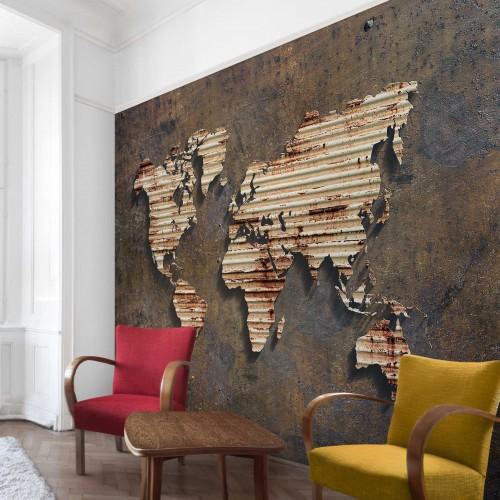 Harta lumii ruginita - fototapet vlies