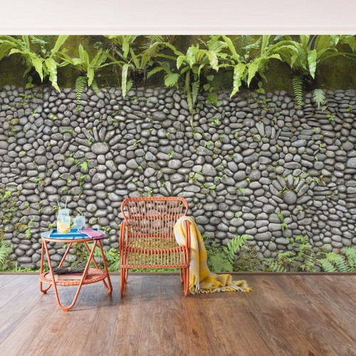 Perete decorat cu pietre și plante - fototapet vlies