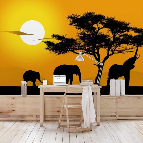 Plimbarea elefantilor africani - fototapet animale