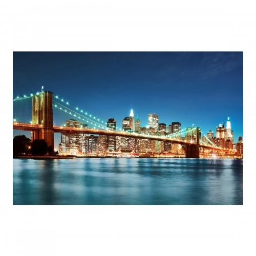 Podul din Manhattan in miez de noapte - fototapet vlies
