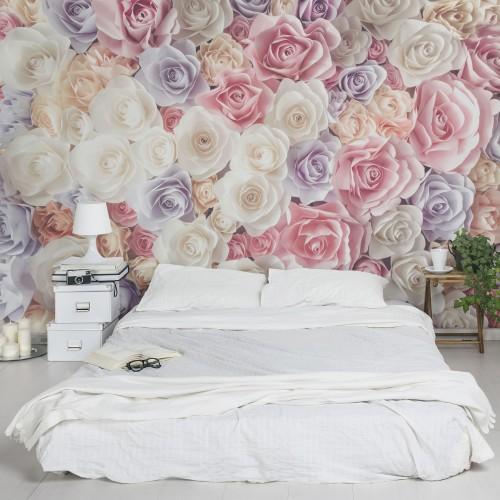 Trandafiri pastel - fototapet vlies