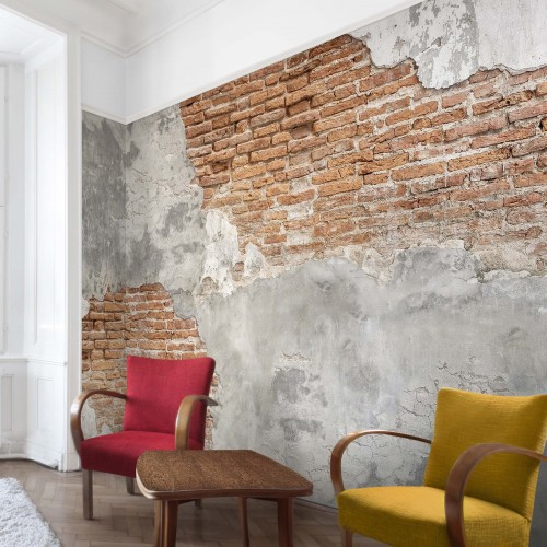Fototapet imitatie - perete din beton și cărămidă 208469