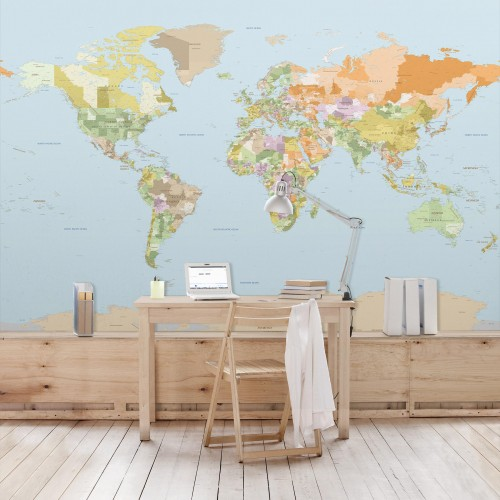 Harta politică a lumii - fototapet vlies