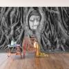 Buddha in alb si negru - fototapet vlies