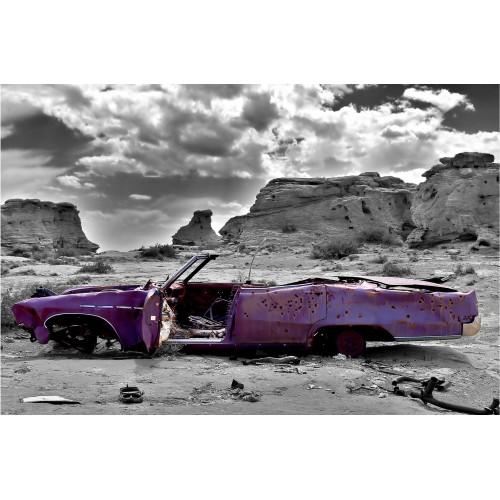 Cadillac roz in desert - fototapet vlies