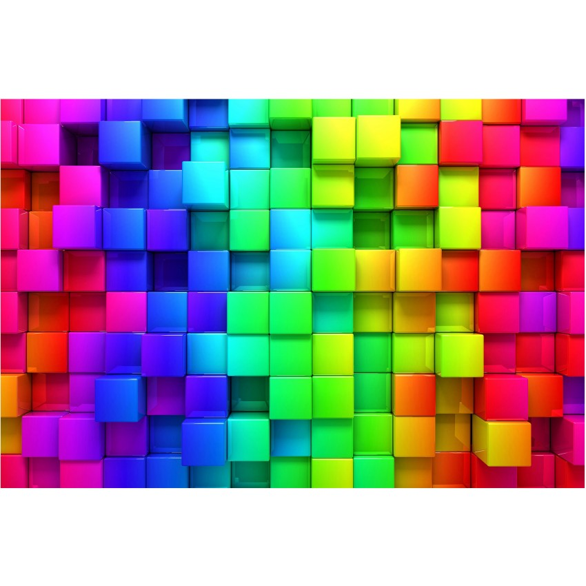 Cuburi 3D vibrante - fototapet vlies